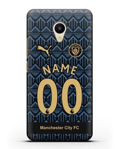 Именной чехол ФК Манчестер Сити с фамилией и номером (сезон 2020-2021) гостевая форма силикон черный для MEIZU M5