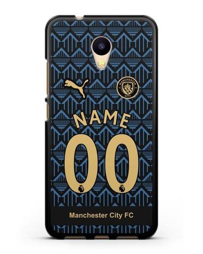 Именной чехол ФК Манчестер Сити с фамилией и номером (сезон 2020-2021) гостевая форма силикон черный для MEIZU M5c