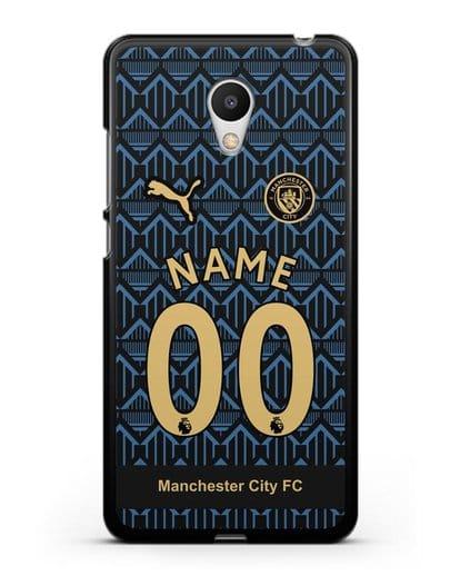 Именной чехол ФК Манчестер Сити с фамилией и номером (сезон 2020-2021) гостевая форма силикон черный для MEIZU M6