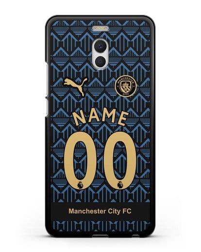 Именной чехол ФК Манчестер Сити с фамилией и номером (сезон 2020-2021) гостевая форма силикон черный для MEIZU M6 Note