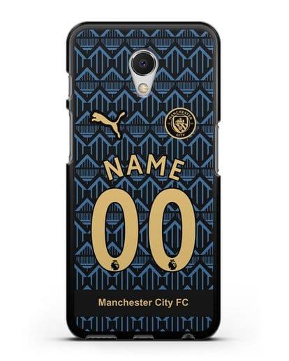 Именной чехол ФК Манчестер Сити с фамилией и номером (сезон 2020-2021) гостевая форма силикон черный для MEIZU M6s