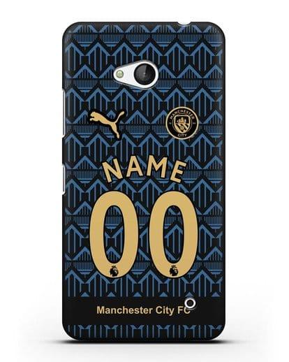 Именной чехол ФК Манчестер Сити с фамилией и номером (сезон 2020-2021) гостевая форма силикон черный для Microsoft Lumia 640