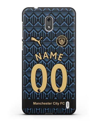 Именной чехол ФК Манчестер Сити с фамилией и номером (сезон 2020-2021) гостевая форма силикон черный для Nokia 2