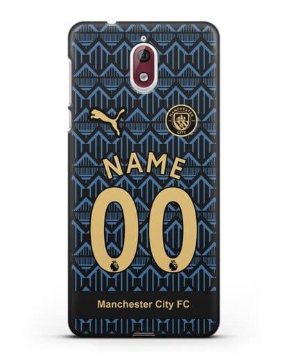 Именной чехол ФК Манчестер Сити с фамилией и номером (сезон 2020-2021) гостевая форма силикон черный для Nokia 3.1