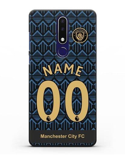 Именной чехол ФК Манчестер Сити с фамилией и номером (сезон 2020-2021) гостевая форма силикон черный для Nokia 3.1 plus