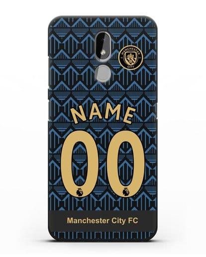 Именной чехол ФК Манчестер Сити с фамилией и номером (сезон 2020-2021) гостевая форма силикон черный для Nokia 3.2 2019