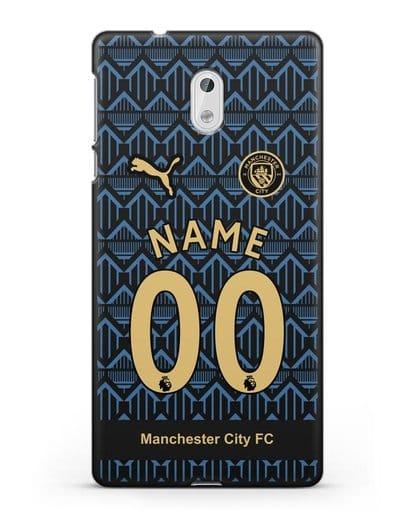 Именной чехол ФК Манчестер Сити с фамилией и номером (сезон 2020-2021) гостевая форма силикон черный для Nokia 3