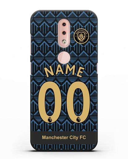 Именной чехол ФК Манчестер Сити с фамилией и номером (сезон 2020-2021) гостевая форма силикон черный для Nokia 4.2 2019