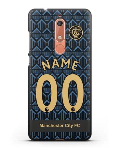 Именной чехол ФК Манчестер Сити с фамилией и номером (сезон 2020-2021) гостевая форма силикон черный для Nokia 5.1