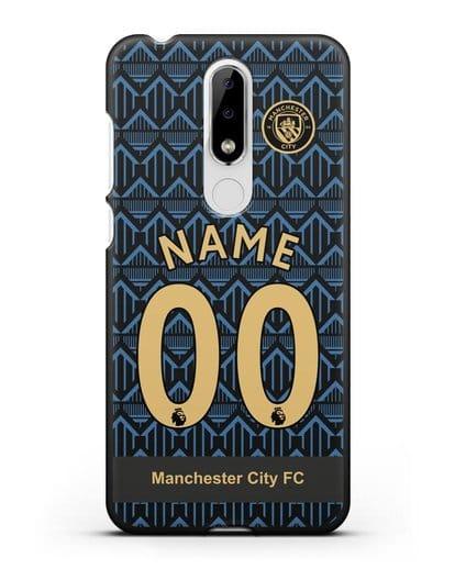 Именной чехол ФК Манчестер Сити с фамилией и номером (сезон 2020-2021) гостевая форма силикон черный для Nokia 5.1 plus