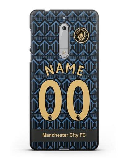 Именной чехол ФК Манчестер Сити с фамилией и номером (сезон 2020-2021) гостевая форма силикон черный для Nokia 5
