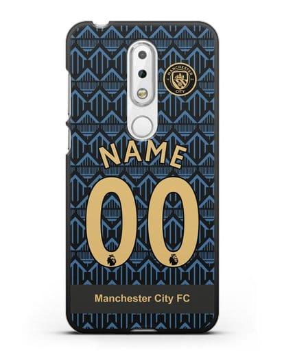 Именной чехол ФК Манчестер Сити с фамилией и номером (сезон 2020-2021) гостевая форма силикон черный для Nokia 6.1 plus