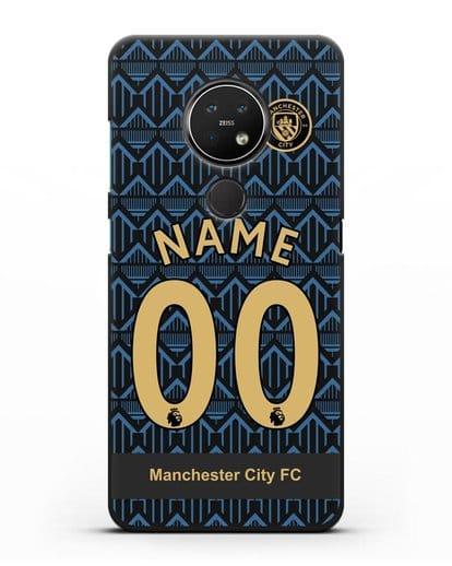 Именной чехол ФК Манчестер Сити с фамилией и номером (сезон 2020-2021) гостевая форма силикон черный для Nokia 6.2 2019