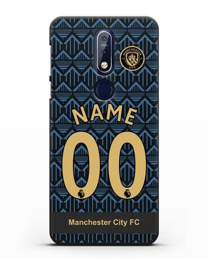 Именной чехол ФК Манчестер Сити с фамилией и номером (сезон 2020-2021) гостевая форма силикон черный для Nokia 7.1