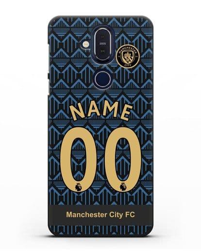 Именной чехол ФК Манчестер Сити с фамилией и номером (сезон 2020-2021) гостевая форма силикон черный для Nokia 7.1 plus