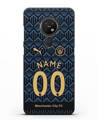Именной чехол ФК Манчестер Сити с фамилией и номером (сезон 2020-2021) гостевая форма силикон черный для Nokia 7.2