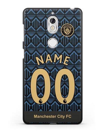 Именной чехол ФК Манчестер Сити с фамилией и номером (сезон 2020-2021) гостевая форма силикон черный для Nokia 7
