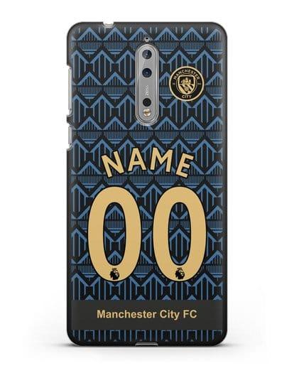 Именной чехол ФК Манчестер Сити с фамилией и номером (сезон 2020-2021) гостевая форма силикон черный для Nokia 8