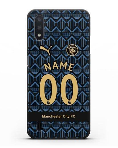 Именной чехол ФК Манчестер Сити с фамилией и номером (сезон 2020-2021) гостевая форма силикон черный для Samsung Galaxy A01 [SM-A015F]