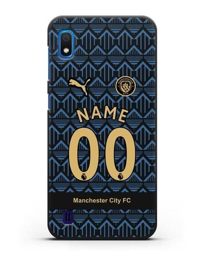 Именной чехол ФК Манчестер Сити с фамилией и номером (сезон 2020-2021) гостевая форма силикон черный для Samsung Galaxy A10 [SM-A105F]