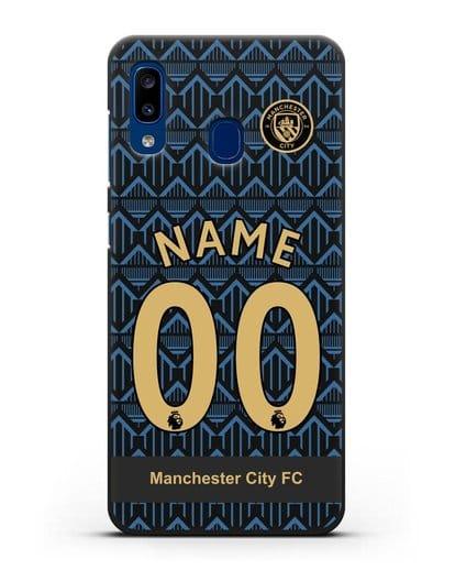 Именной чехол ФК Манчестер Сити с фамилией и номером (сезон 2020-2021) гостевая форма силикон черный для Samsung Galaxy A20 [SM-A205FN]