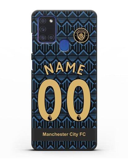 Именной чехол ФК Манчестер Сити с фамилией и номером (сезон 2020-2021) гостевая форма силикон черный для Samsung Galaxy A21s [SM-A217F]