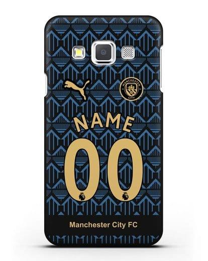 Именной чехол ФК Манчестер Сити с фамилией и номером (сезон 2020-2021) гостевая форма силикон черный для Samsung Galaxy A3 2015 [SM-A300F]