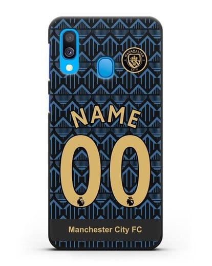 Именной чехол ФК Манчестер Сити с фамилией и номером (сезон 2020-2021) гостевая форма силикон черный для Samsung Galaxy A40 [SM-A405F]