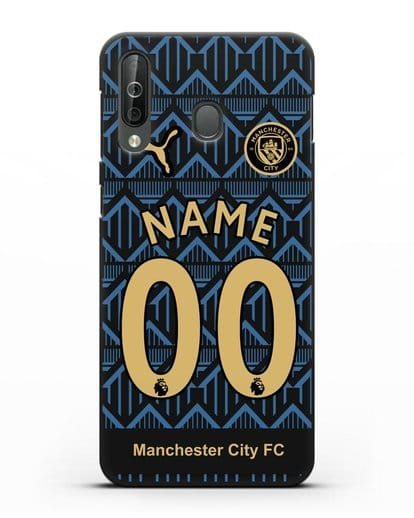 Именной чехол ФК Манчестер Сити с фамилией и номером (сезон 2020-2021) гостевая форма силикон черный для Samsung Galaxy A40s [SM-A507FN]