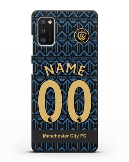 Именной чехол ФК Манчестер Сити с фамилией и номером (сезон 2020-2021) гостевая форма силикон черный для Samsung Galaxy A41 [SM-A415F]