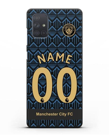 Именной чехол ФК Манчестер Сити с фамилией и номером (сезон 2020-2021) гостевая форма силикон черный для Samsung Galaxy A71 [SM-A715F]
