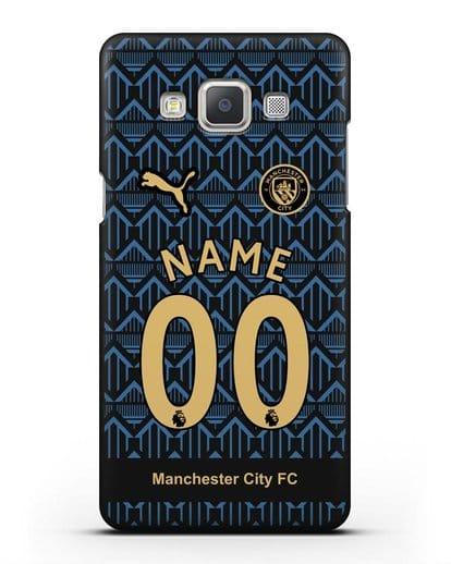 Именной чехол ФК Манчестер Сити с фамилией и номером (сезон 2020-2021) гостевая форма силикон черный для Samsung Galaxy A7 2015 [SM-A700F]