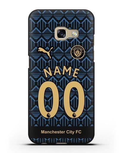 Именной чехол ФК Манчестер Сити с фамилией и номером (сезон 2020-2021) гостевая форма силикон черный для Samsung Galaxy A7 2017 [SM-A720F]