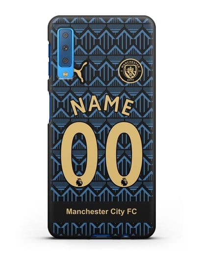 Именной чехол ФК Манчестер Сити с фамилией и номером (сезон 2020-2021) гостевая форма силикон черный для Samsung Galaxy A7 2018 [SM-A750F]