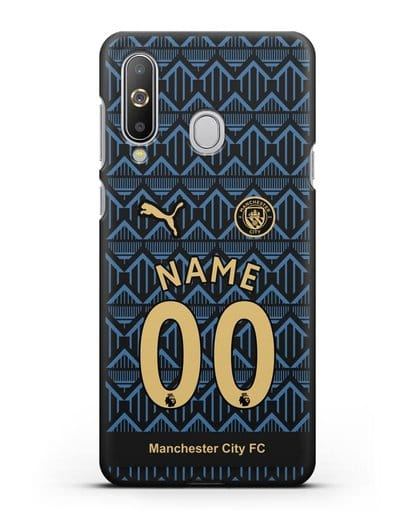 Именной чехол ФК Манчестер Сити с фамилией и номером (сезон 2020-2021) гостевая форма силикон черный для Samsung Galaxy A8s [SM-G8870]