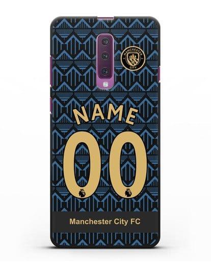 Именной чехол ФК Манчестер Сити с фамилией и номером (сезон 2020-2021) гостевая форма силикон черный для Samsung Galaxy A90 [SM-A908N]