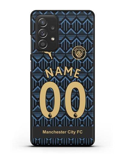 Именной чехол ФК Манчестер Сити с фамилией и номером (сезон 2020-2021) гостевая форма силикон черный для Samsung Galaxy A52 [SM-A525F]