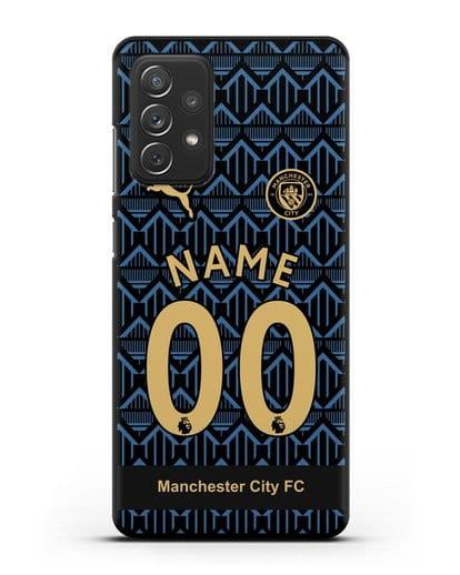 Именной чехол ФК Манчестер Сити с фамилией и номером (сезон 2020-2021) гостевая форма силикон черный для Samsung Galaxy A72 [SM-A725F]