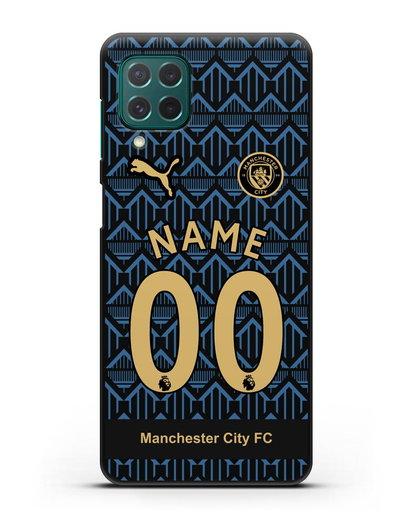 Именной чехол ФК Манчестер Сити с фамилией и номером (сезон 2020-2021) гостевая форма силикон черный для Samsung Galaxy M62 [SM-M625F]