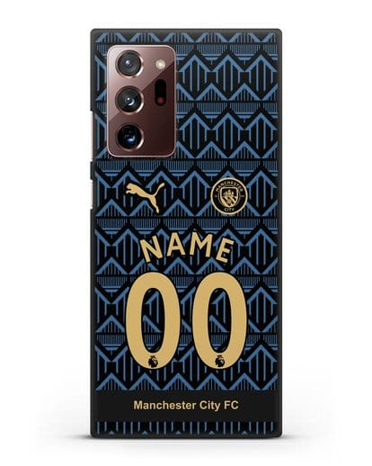 Именной чехол ФК Манчестер Сити с фамилией и номером (сезон 2020-2021) гостевая форма силикон черный для Samsung Galaxy Note 20 Ultra [SM-N985F]