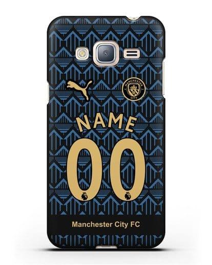Именной чехол ФК Манчестер Сити с фамилией и номером (сезон 2020-2021) гостевая форма силикон черный для Samsung Galaxy J3 2016 [SM-J320F]