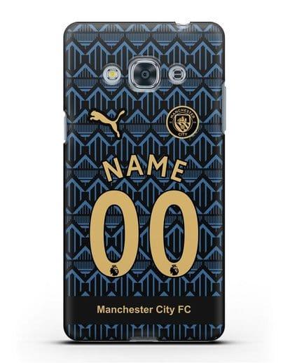 Именной чехол ФК Манчестер Сити с фамилией и номером (сезон 2020-2021) гостевая форма силикон черный для Samsung Galaxy J3 Pro [SM-J3110]