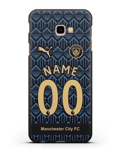 Именной чехол ФК Манчестер Сити с фамилией и номером (сезон 2020-2021) гостевая форма силикон черный для Samsung Galaxy J4 Plus [SM-J415]