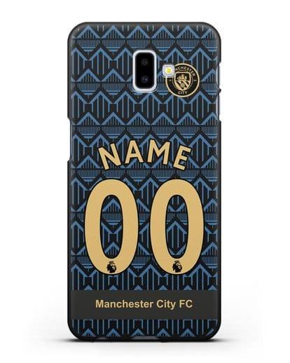 Именной чехол ФК Манчестер Сити с фамилией и номером (сезон 2020-2021) гостевая форма силикон черный для Samsung Galaxy J6 Plus [SM-J610F]