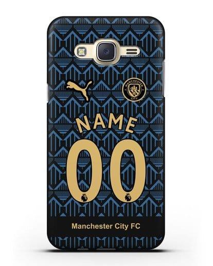 Именной чехол ФК Манчестер Сити с фамилией и номером (сезон 2020-2021) гостевая форма силикон черный для Samsung Galaxy J7 2015 [SM-J700H]