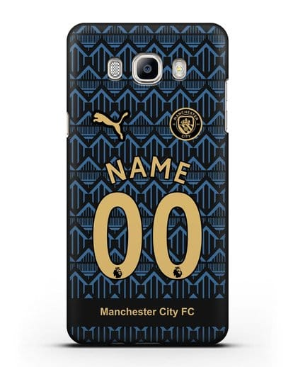 Именной чехол ФК Манчестер Сити с фамилией и номером (сезон 2020-2021) гостевая форма силикон черный для Samsung Galaxy J7 2016 [SM-J710F]