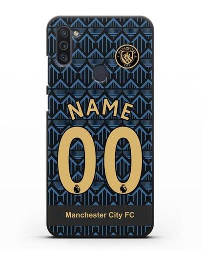 Именной чехол ФК Манчестер Сити с фамилией и номером (сезон 2020-2021) гостевая форма силикон черный для Samsung Galaxy M11 [SM-M115F]