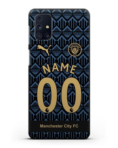 Именной чехол ФК Манчестер Сити с фамилией и номером (сезон 2020-2021) гостевая форма силикон черный для Samsung Galaxy M51 [SM-M515F]