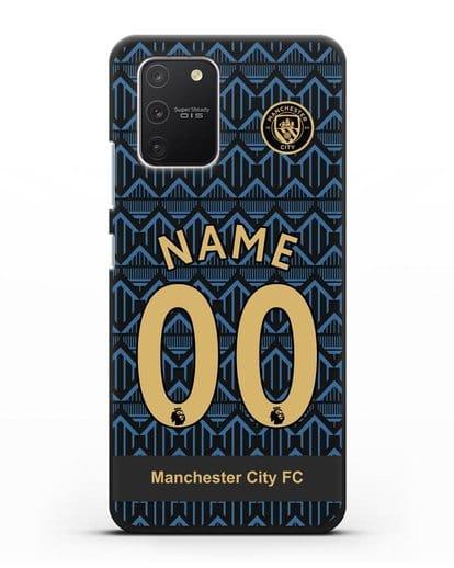 Именной чехол ФК Манчестер Сити с фамилией и номером (сезон 2020-2021) гостевая форма силикон черный для Samsung Galaxy S10 lite [SM-G770F]