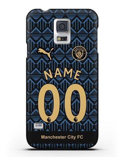 Именной чехол ФК Манчестер Сити с фамилией и номером (сезон 2020-2021) гостевая форма силикон черный для Samsung Galaxy S5 [SM-G900F]